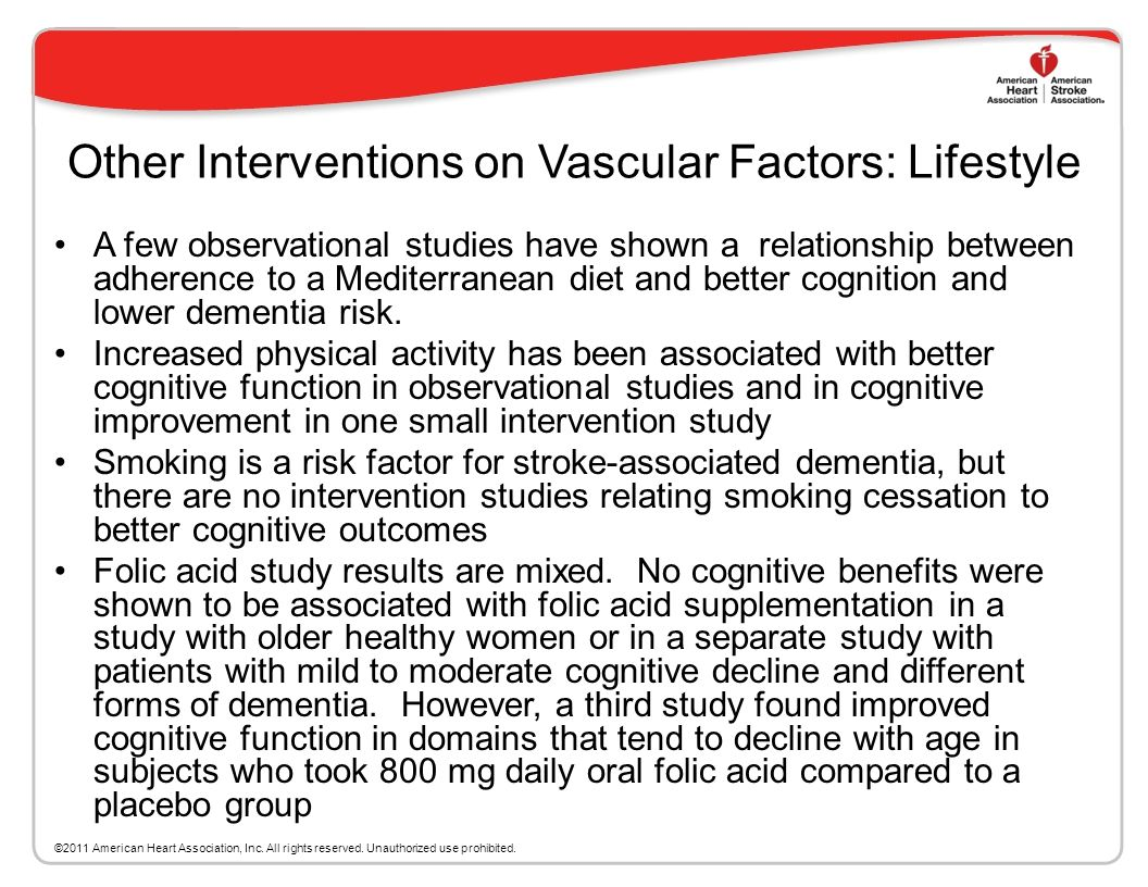 Other Interventions on Vascular Factors: Lifestyle