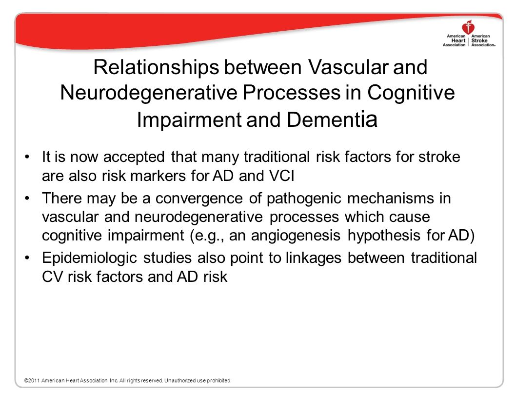 Relationships between Vascular and Neurodegenerative Processes in Cognitive Impairment and Dementia