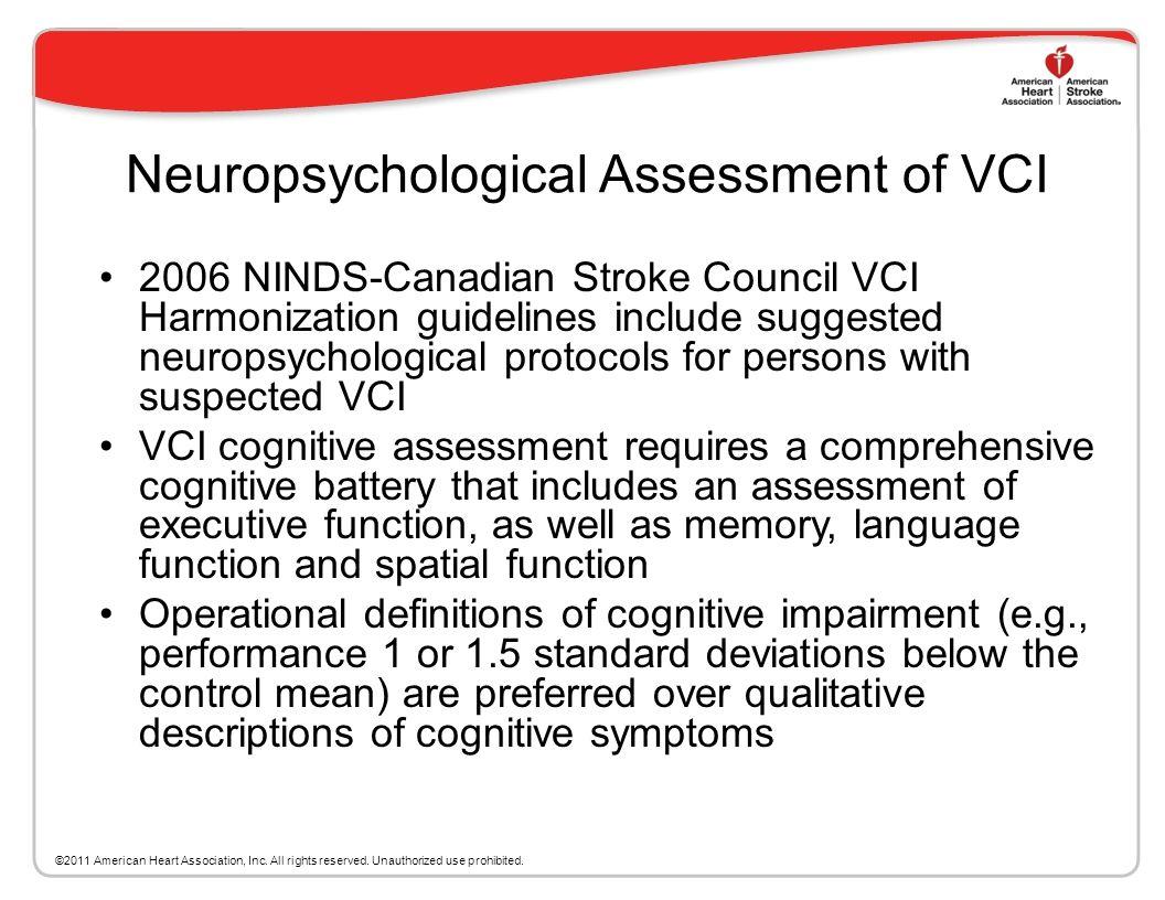 Neuropsychological Assessment of VCI
