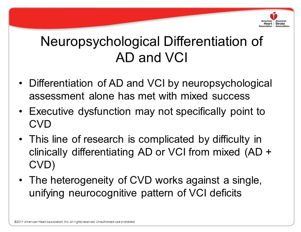 Neuropsychological Differentiation of AD and VCI