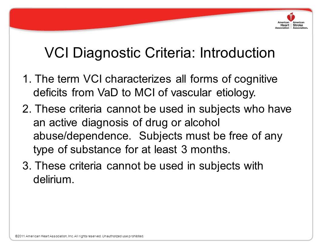 VCI Diagnostic Criteria: Introduction
