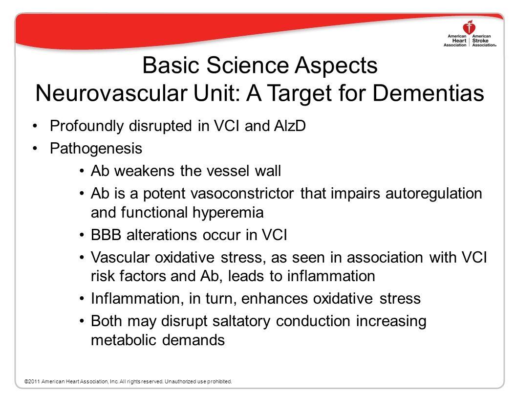 Basic Science Aspects Neurovascular Unit: A Target for Dementias