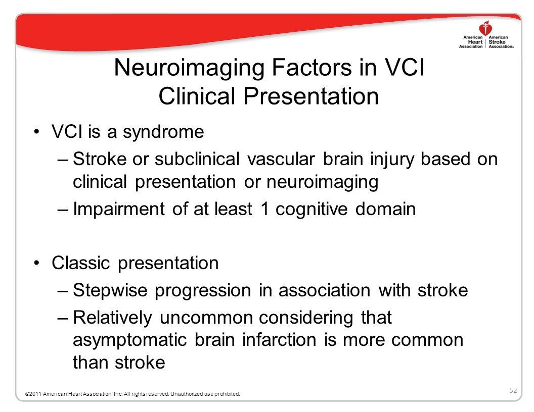 Neuroimaging Factors in VCI Clinical Presentation