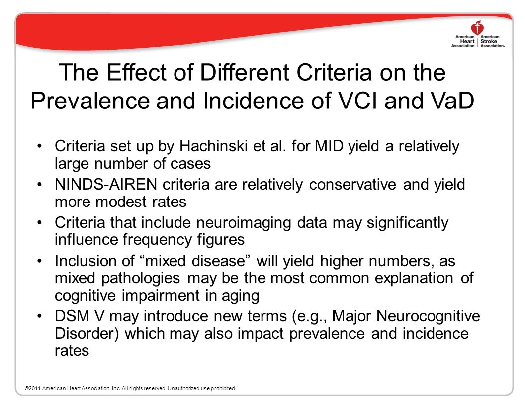 The Effect of Different Criteria on the Prevalence and Incidence of VCI and VaD
