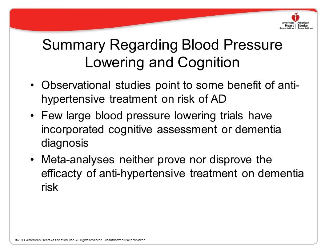Summary Regarding Blood Pressure Lowering and Cognition