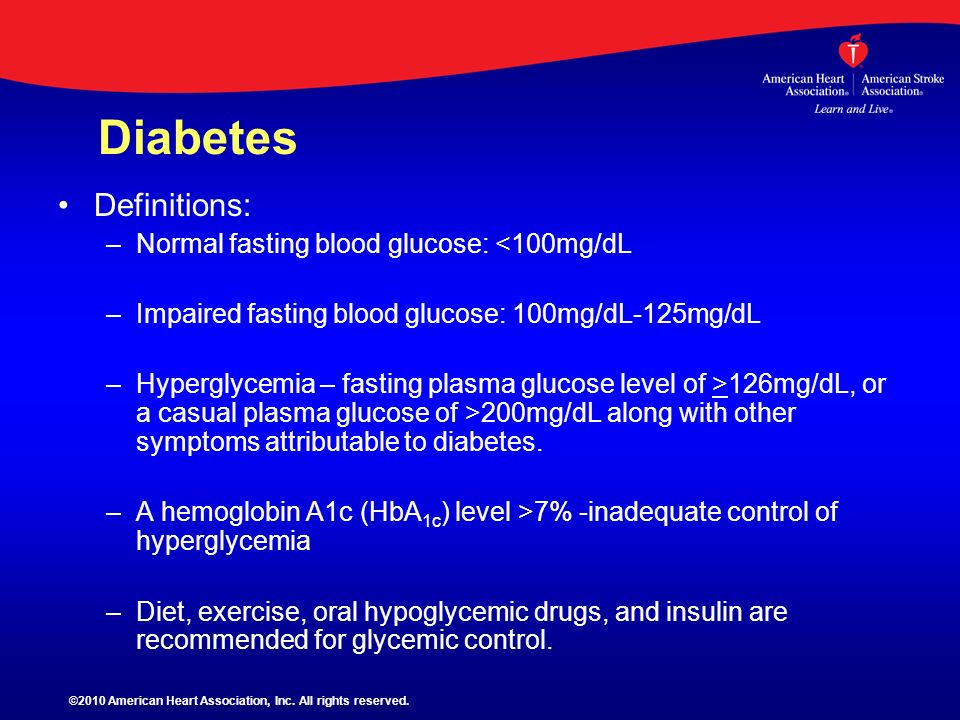 Diabetes Definitions: Normal fasting blood glucose: <100mg/dL