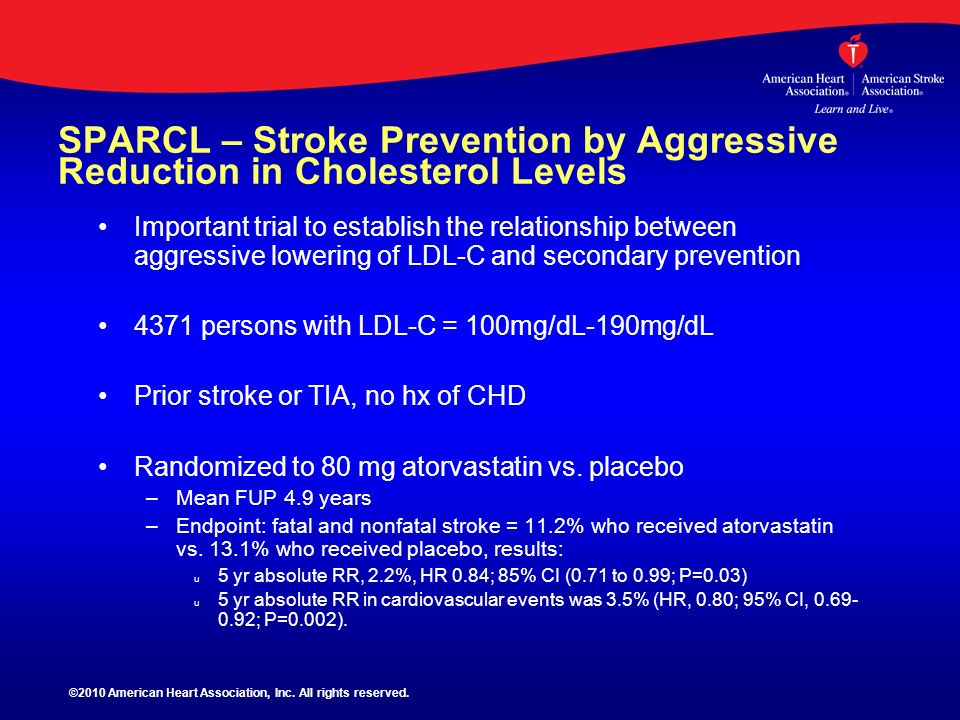SPARCL – Stroke Prevention by Aggressive Reduction in Cholesterol Levels