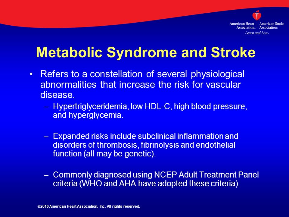 Metabolic Syndrome and Stroke