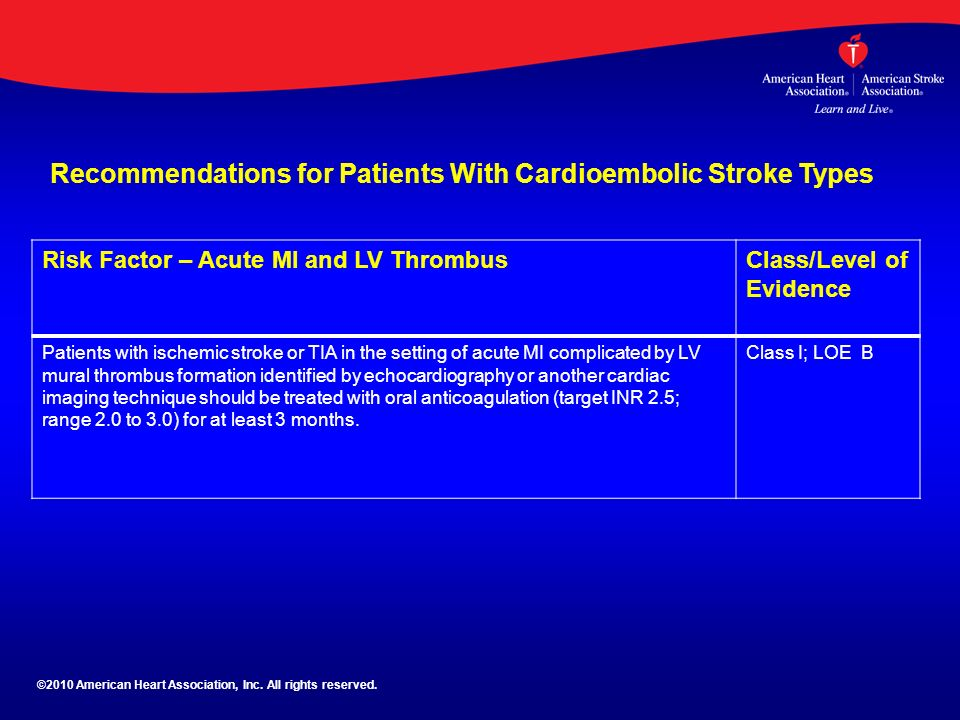 Aha asa guideline guidelines for the prevention of stroke for Define mural thrombus