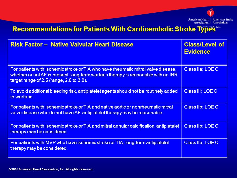 Recommendations for Patients With Cardioembolic Stroke Types