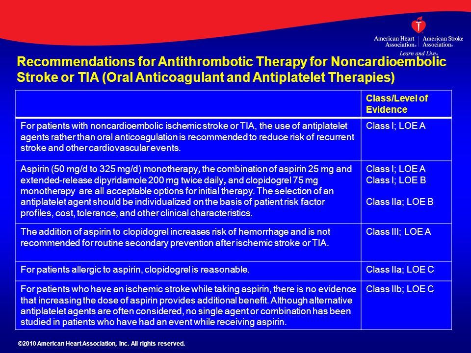Recommendations for Antithrombotic Therapy for Noncardioembolic Stroke or TIA (Oral Anticoagulant and Antiplatelet Therapies)