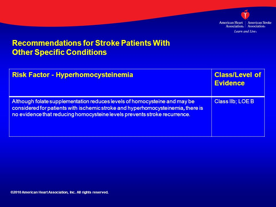 Recommendations for Stroke Patients With Other Specific Conditions