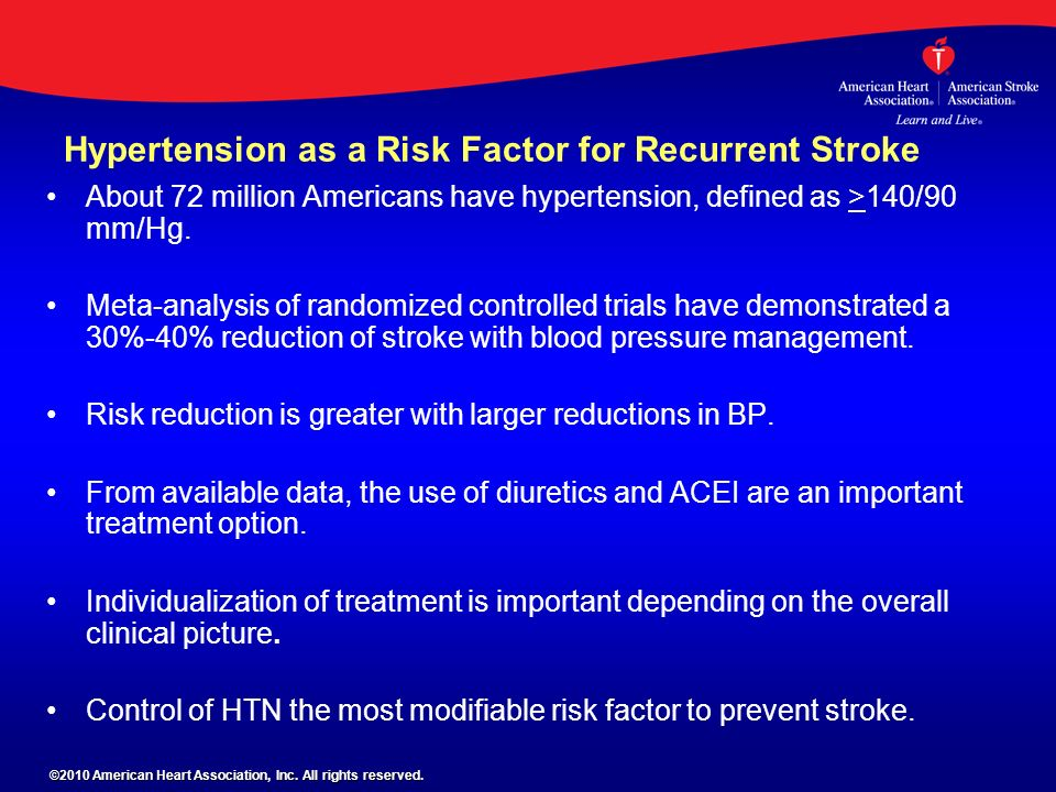 Hypertension as a Risk Factor for Recurrent Stroke