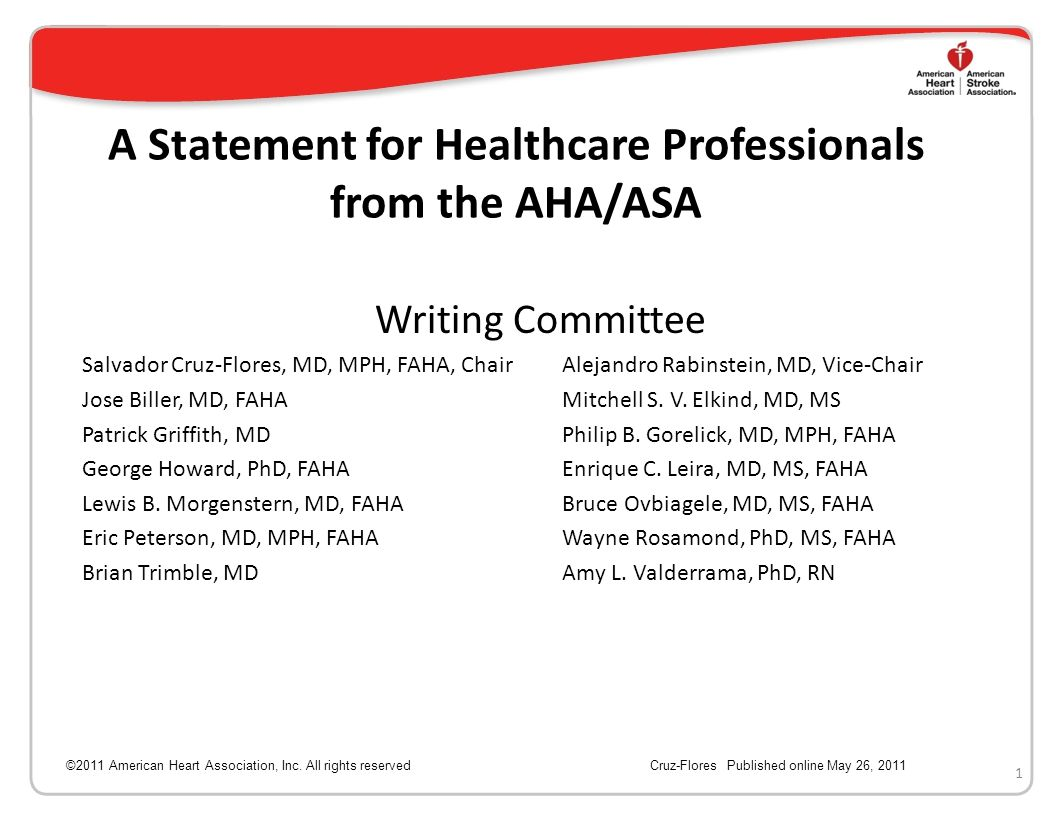 A Statement for Healthcare Professionals from the AHA/ASA