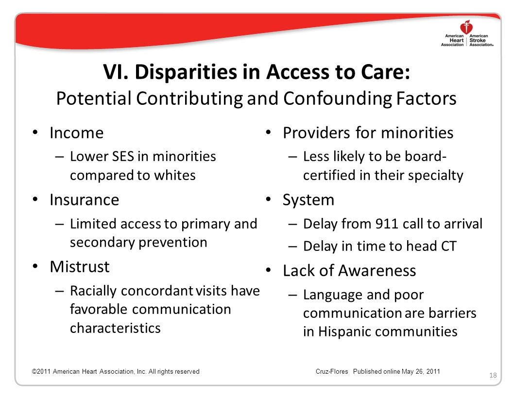 VI. Disparities in Access to Care: Potential Contributing and Confounding Factors