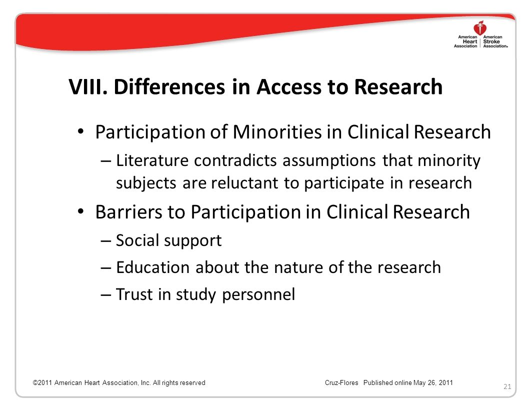 VIII. Differences in Access to Research