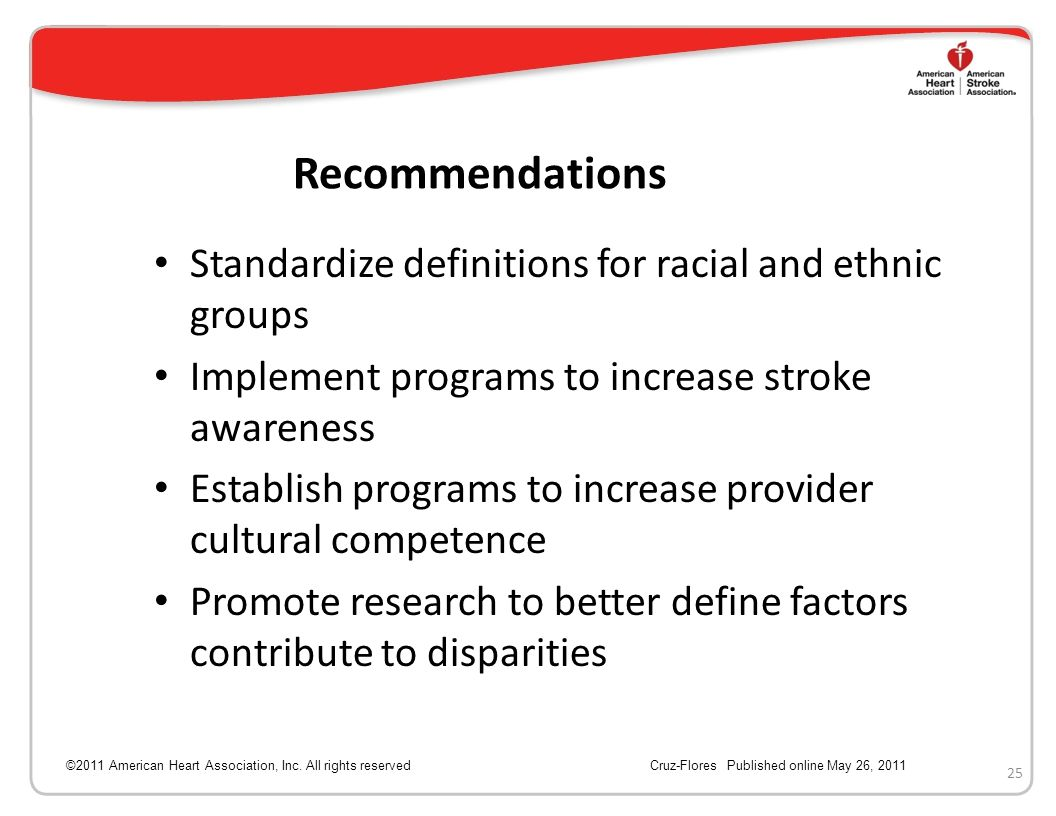 Recommendations Standardize definitions for racial and ethnic groups