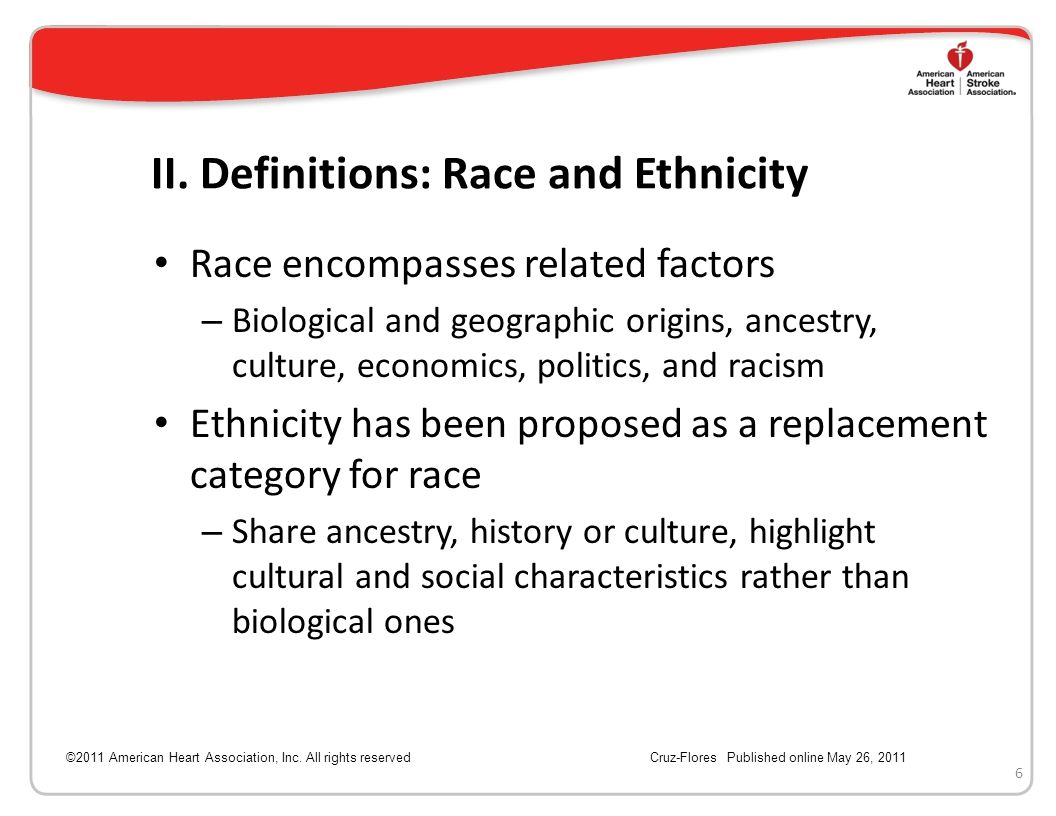 II. Definitions: Race and Ethnicity