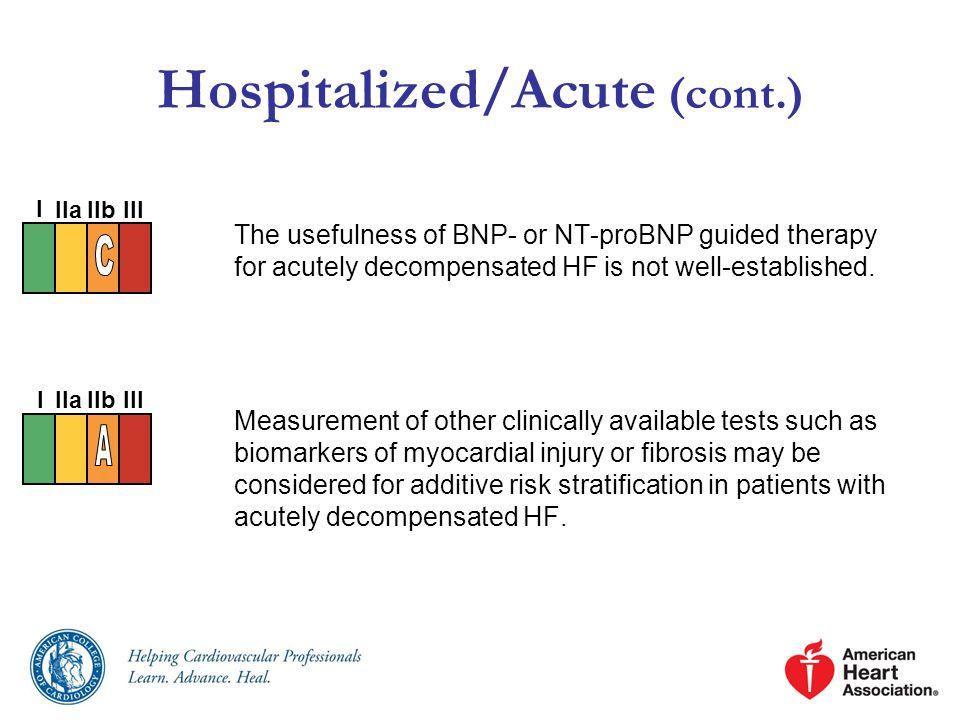 Hospitalized/Acute (cont.)