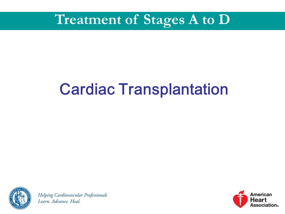Treatment of Stages A to D Cardiac Transplantation