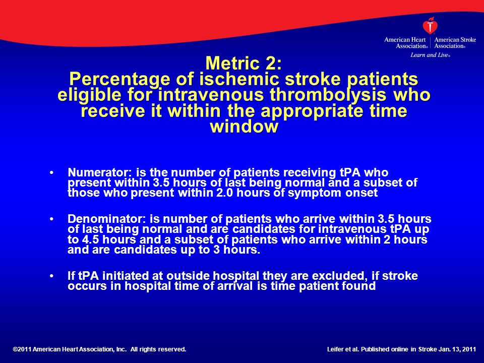 Metric 2: Percentage of ischemic stroke patients eligible for intravenous thrombolysis who receive it within the appropriate time window