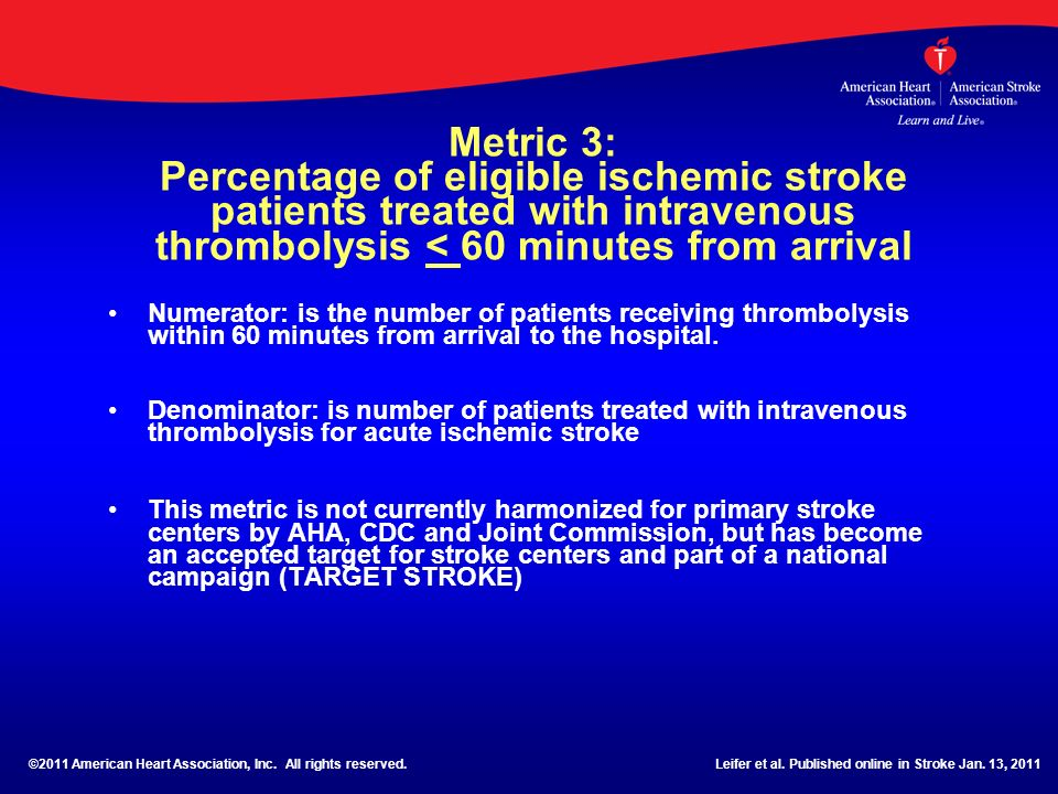 Metric 3: Percentage of eligible ischemic stroke patients treated with intravenous thrombolysis < 60 minutes from arrival