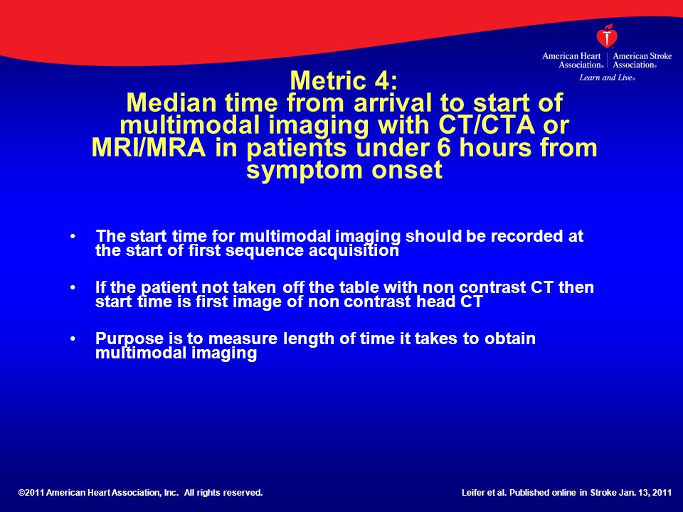 Metric 4: Median time from arrival to start of multimodal imaging with CT/CTA or MRI/MRA in patients under 6 hours from symptom onset