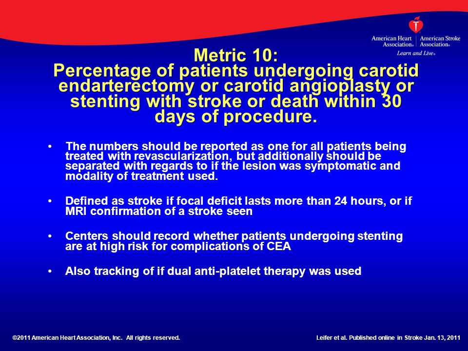 Metric 10: Percentage of patients undergoing carotid endarterectomy or carotid angioplasty or stenting with stroke or death within 30 days of procedure.
