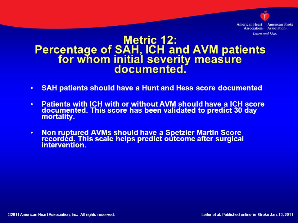 Metric 12: Percentage of SAH, ICH and AVM patients for whom initial severity measure documented.