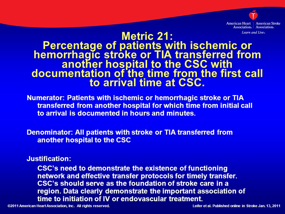 Metric 21: Percentage of patients with ischemic or hemorrhagic stroke or TIA transferred from another hospital to the CSC with documentation of the time from the first call to arrival time at CSC.