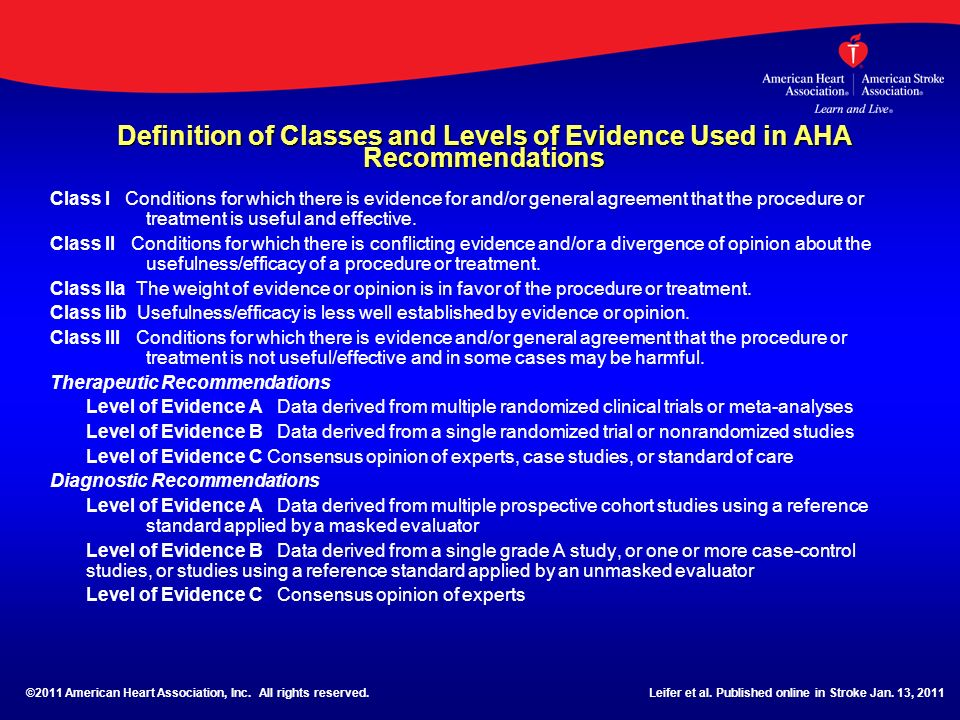 Definition of Classes and Levels of Evidence Used in AHA Recommendations