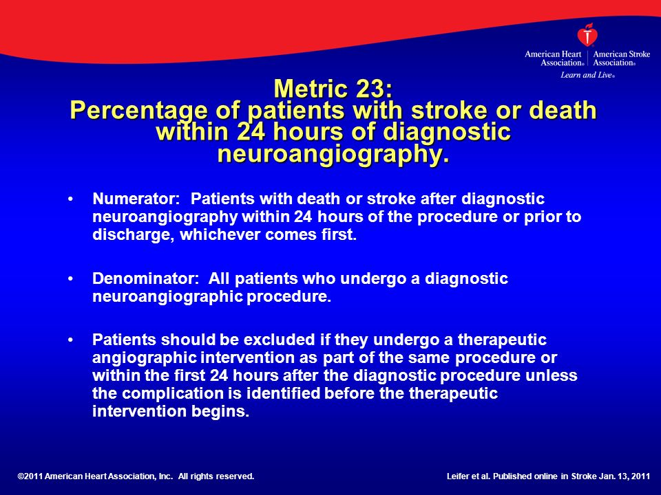 Metric 23: Percentage of patients with stroke or death within 24 hours of diagnostic neuroangiography.