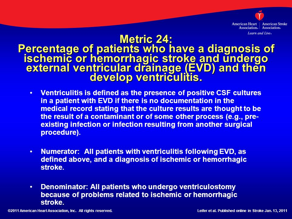Metric 24: Percentage of patients who have a diagnosis of ischemic or hemorrhagic stroke and undergo external ventricular drainage (EVD) and then develop ventriculitis.