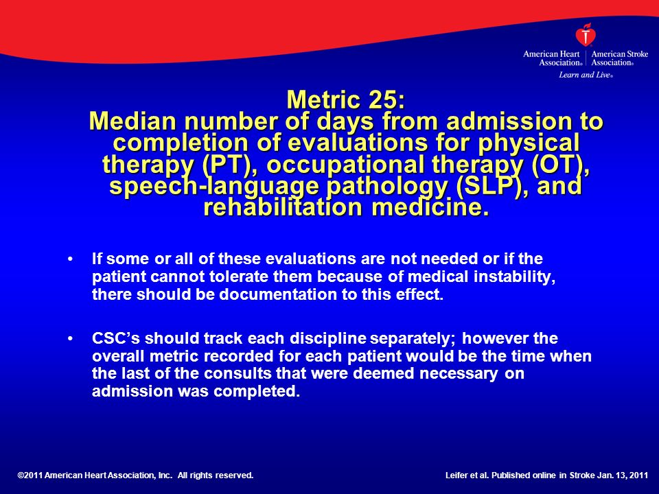 Metric 25: Median number of days from admission to completion of evaluations for physical therapy (PT), occupational therapy (OT), speech-language pathology (SLP), and rehabilitation medicine.