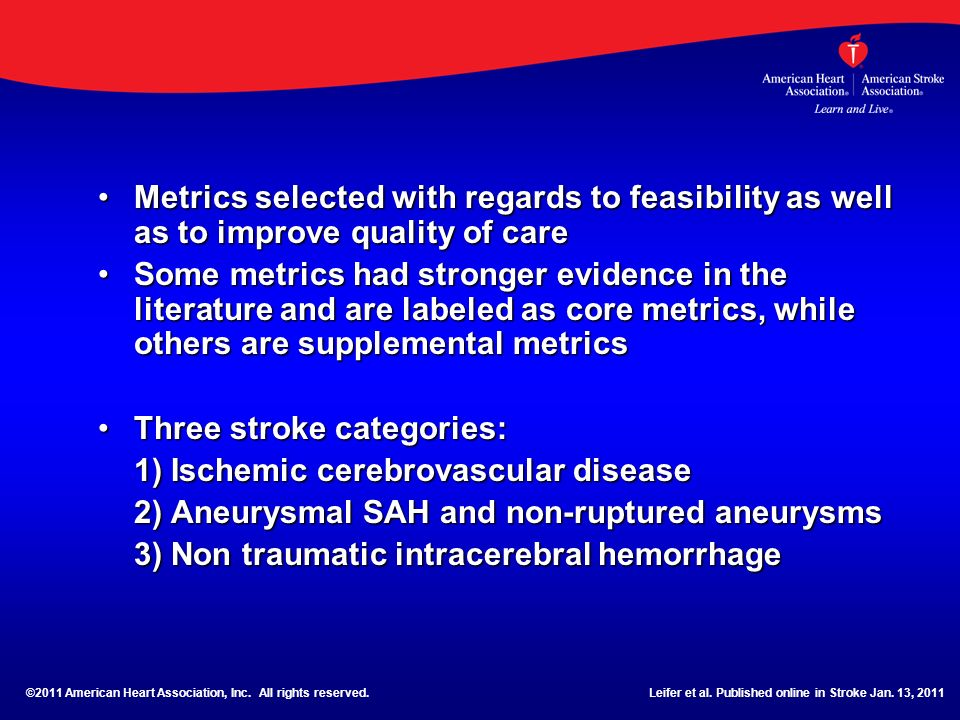 Three stroke categories: 1) Ischemic cerebrovascular disease