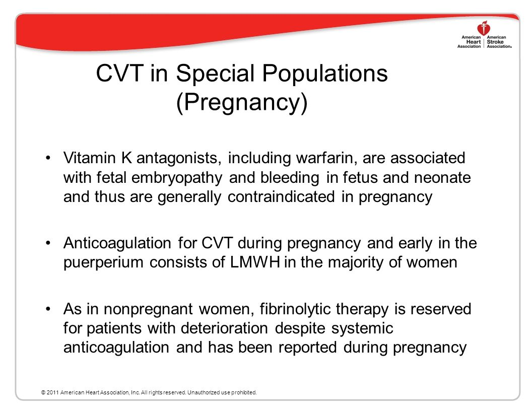 CVT in Special Populations (Pregnancy)