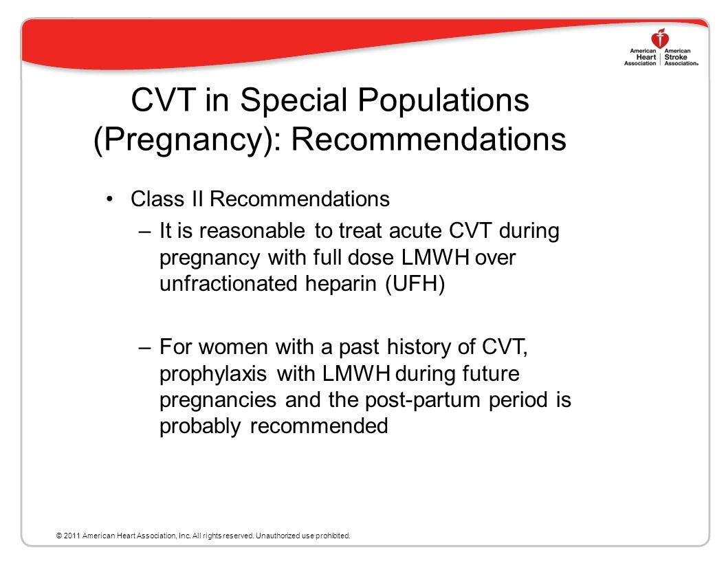 CVT in Special Populations (Pregnancy): Recommendations