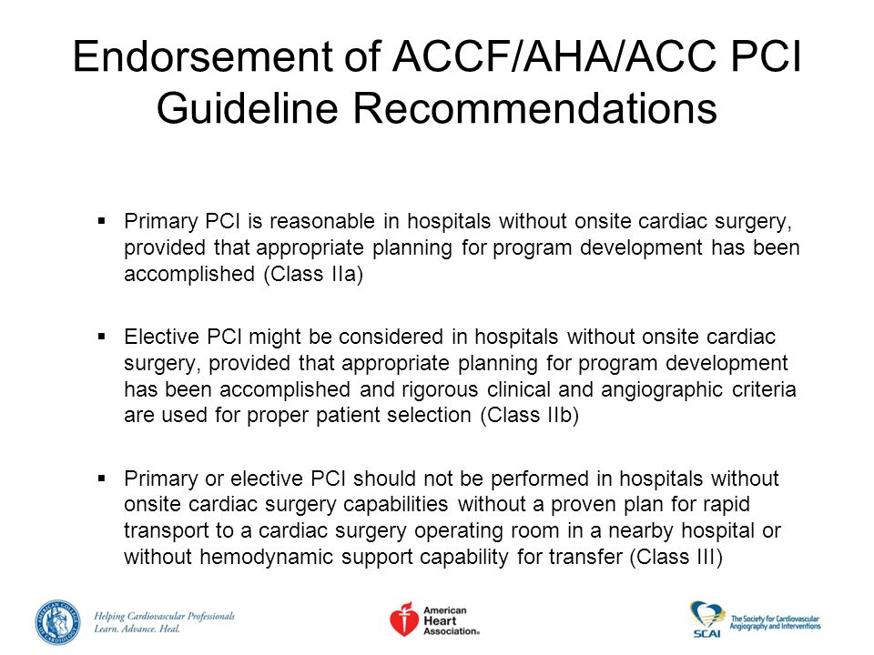 Endorsement of ACCF/AHA/ACC PCI Guideline Recommendations