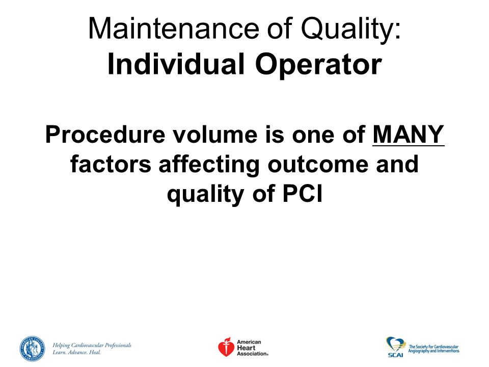 Maintenance of Quality: Individual Operator