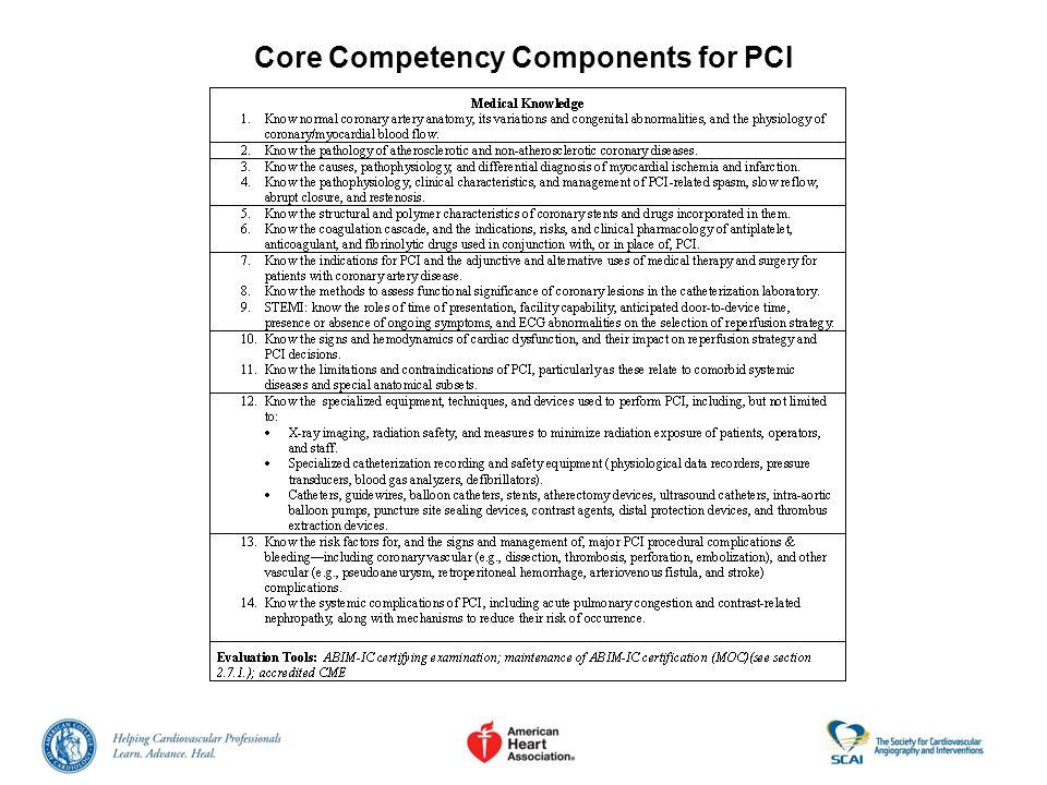 Core Competency Components for PCI
