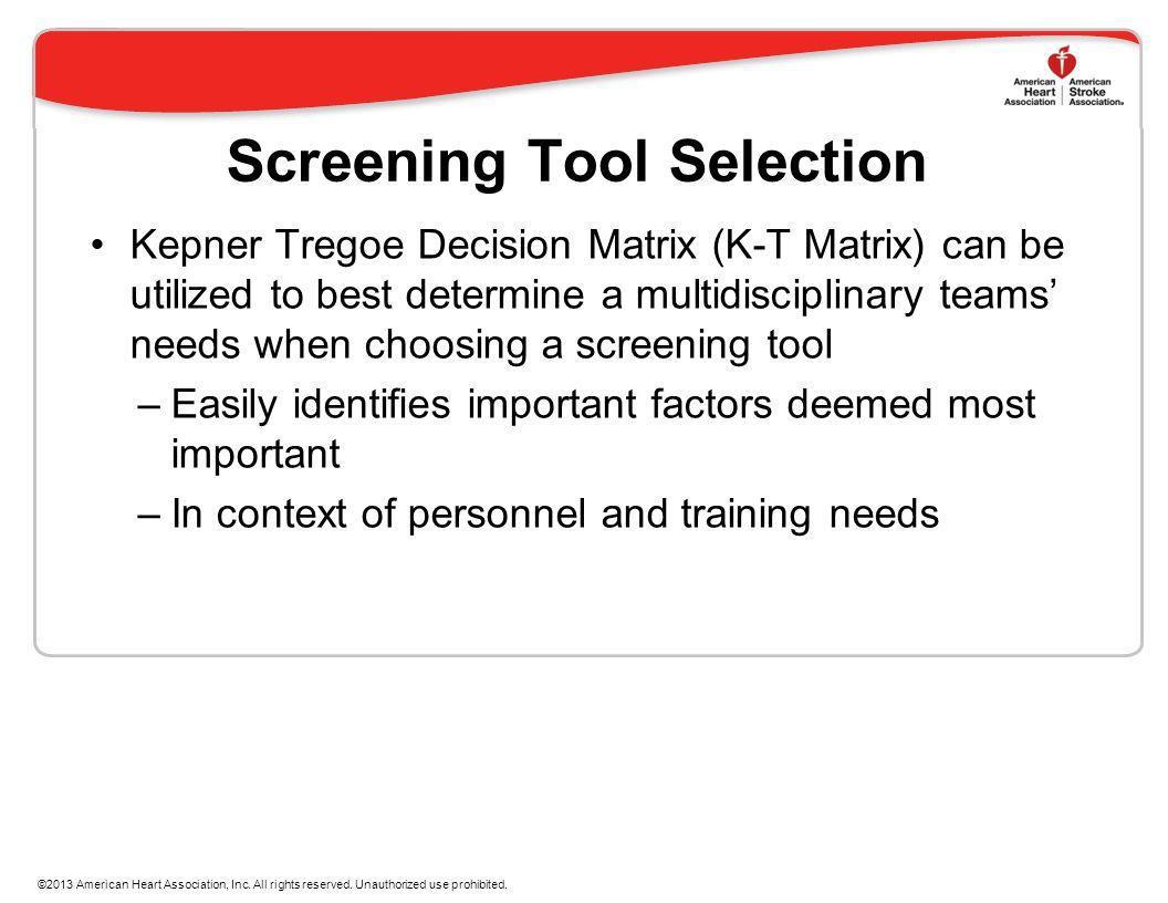 Screening Tool Selection