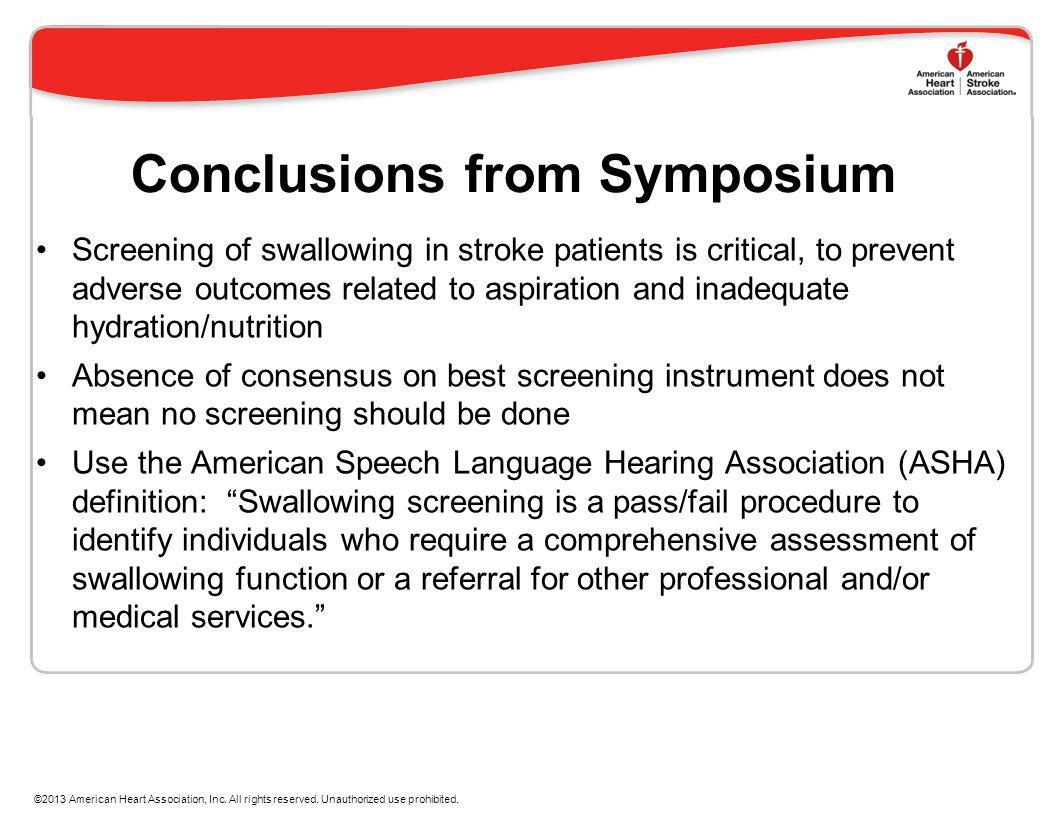 Conclusions from Symposium