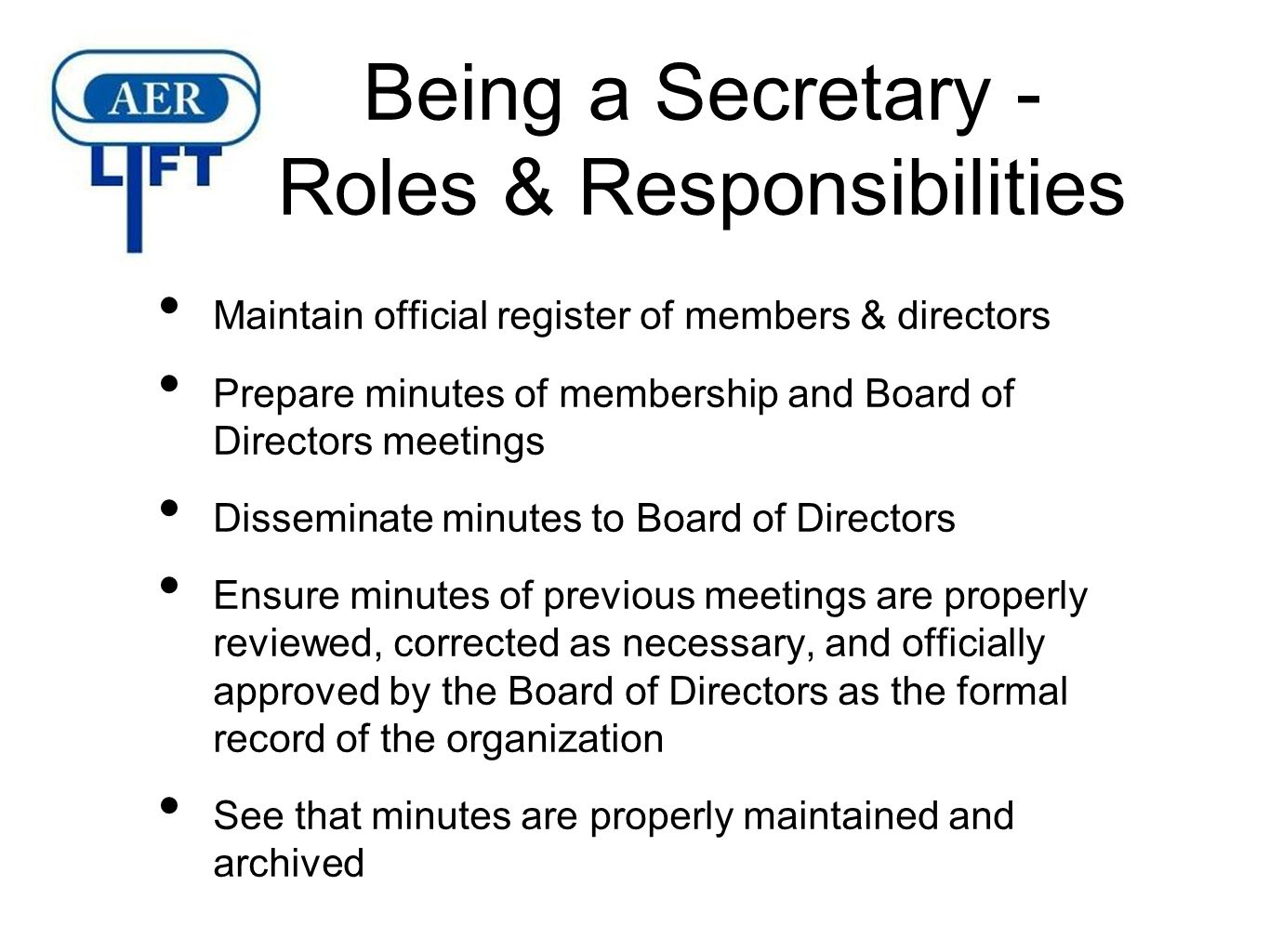 the roles and responsibilities of secretary and treasurer