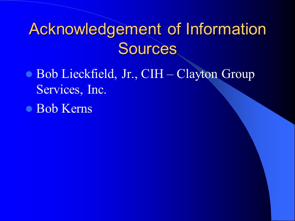 Acknowledgement of Information Sources