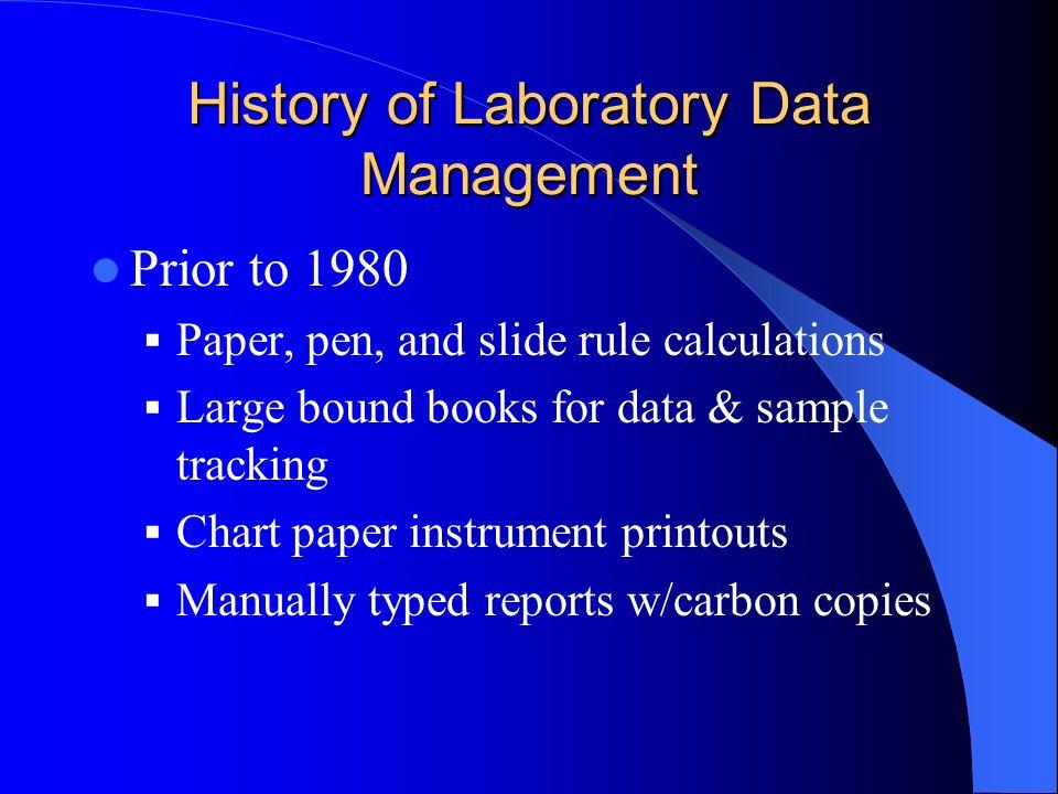 History of Laboratory Data Management