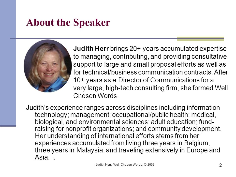 Judith Herr, Well Chosen Words, © 2003