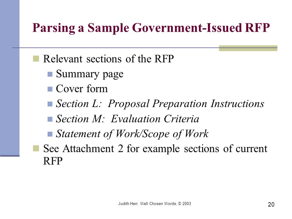 Parsing a Sample Government-Issued RFP