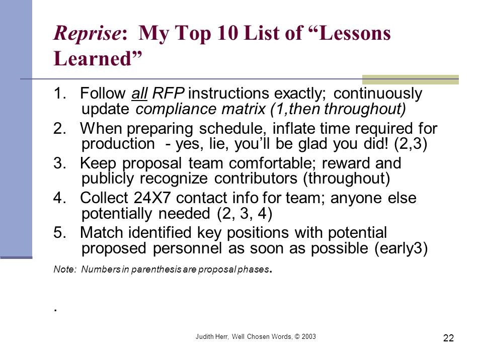 Reprise: My Top 10 List of Lessons Learned