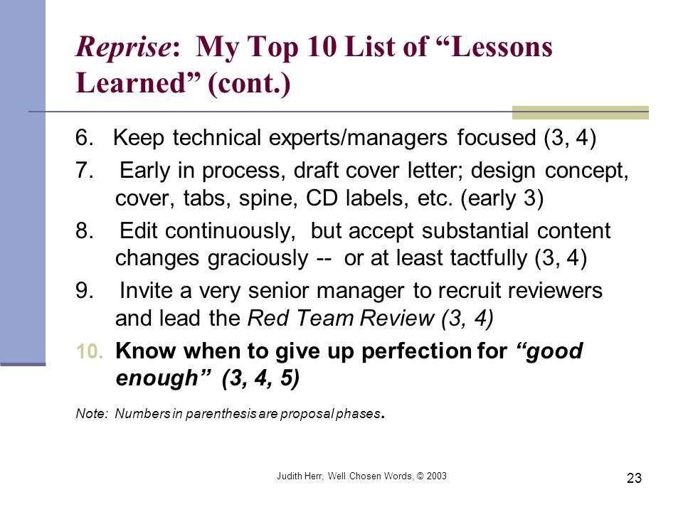 Reprise: My Top 10 List of Lessons Learned (cont.)