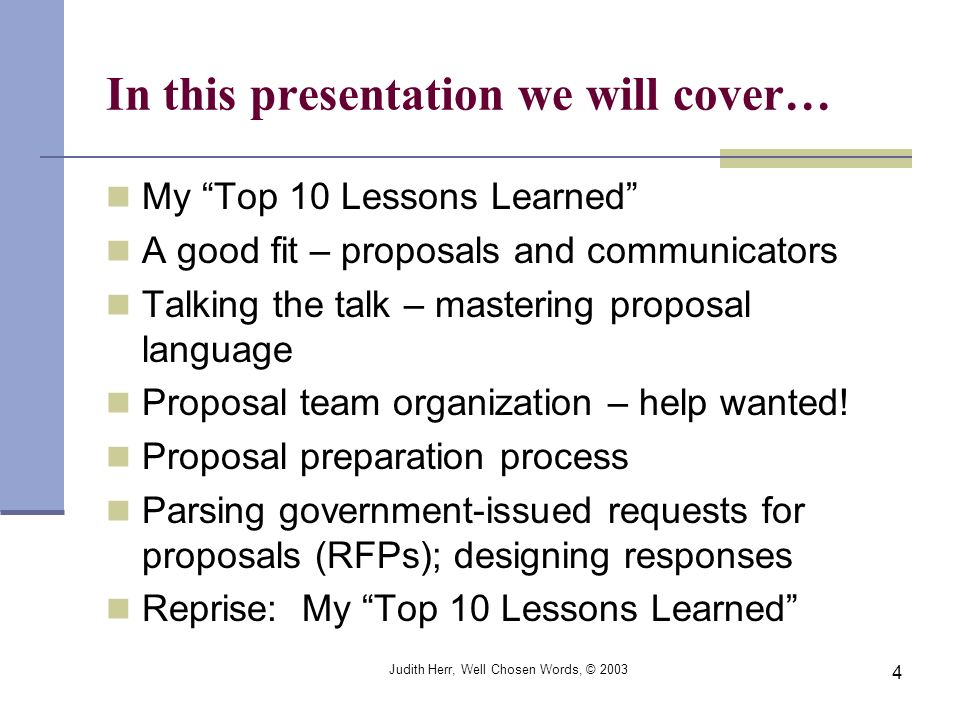 In this presentation we will cover…